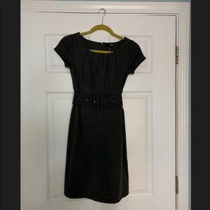 H&M Gray belted shift dress